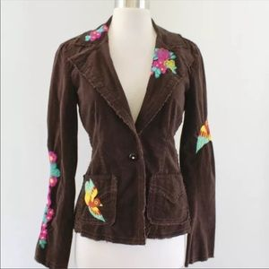 Johnny Was corduroy brown embroidered jacket M